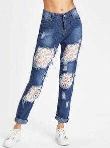 Destroyed Lace Insert Roll Up Cuff Jeans