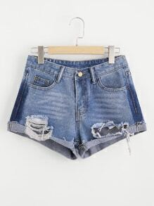 Distress Cuffed Denim Shorts