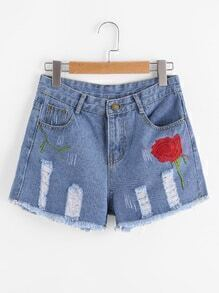 Floral Embroidered Destroyed Fray Hem Denim Shorts