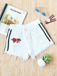 Rose Embroidered Side Stripe Destroyed Fray Hem Shorts