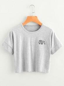 Elephant Print Slub Tee