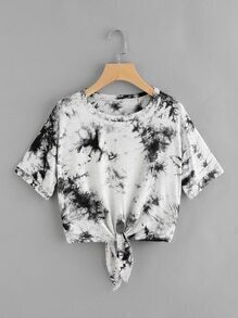 Water Color Knot Front Tee