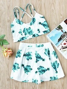 Leaf Print Criss Cross Crop Cami Top And Shorts Set