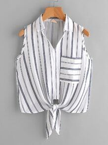 Stripe Knot Front Top With Chest Pocket
