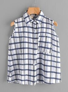 Checked Single Breasted Top With Chest Pocket