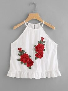 Rose Embroidered Applique Frill Hem Cami Top