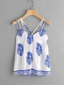 Printed Random Criss Cross Back Cami Top