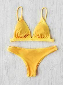 Braided Design Triangle Bikini Set
