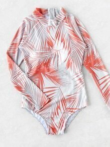 Jungle Print Mock Neck Zipper Swimsuit