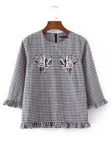 Frill Trim Sequin Embroidery Checked Top