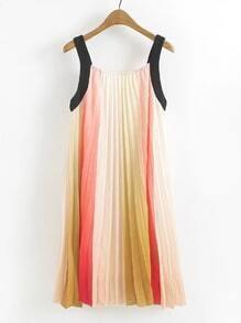 Rainbow Stripe Pleated Dress