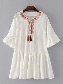 Bell Sleeve Pleated Hem Dress With Fringe