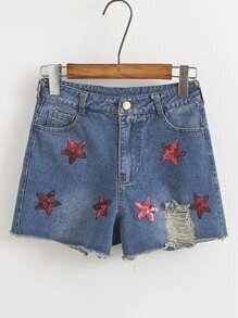 Ripped Denim Shorts With Sequin Stars