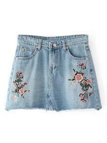 Raw Hem Embroidery Denim Skirt