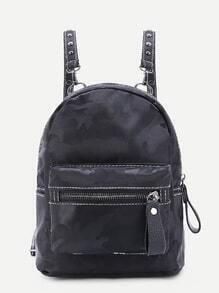 Camouflage Pocket Front Nylon Backpack