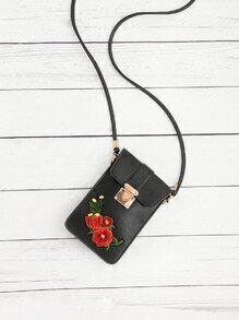 Flower Embroidery PU Pouch Bag