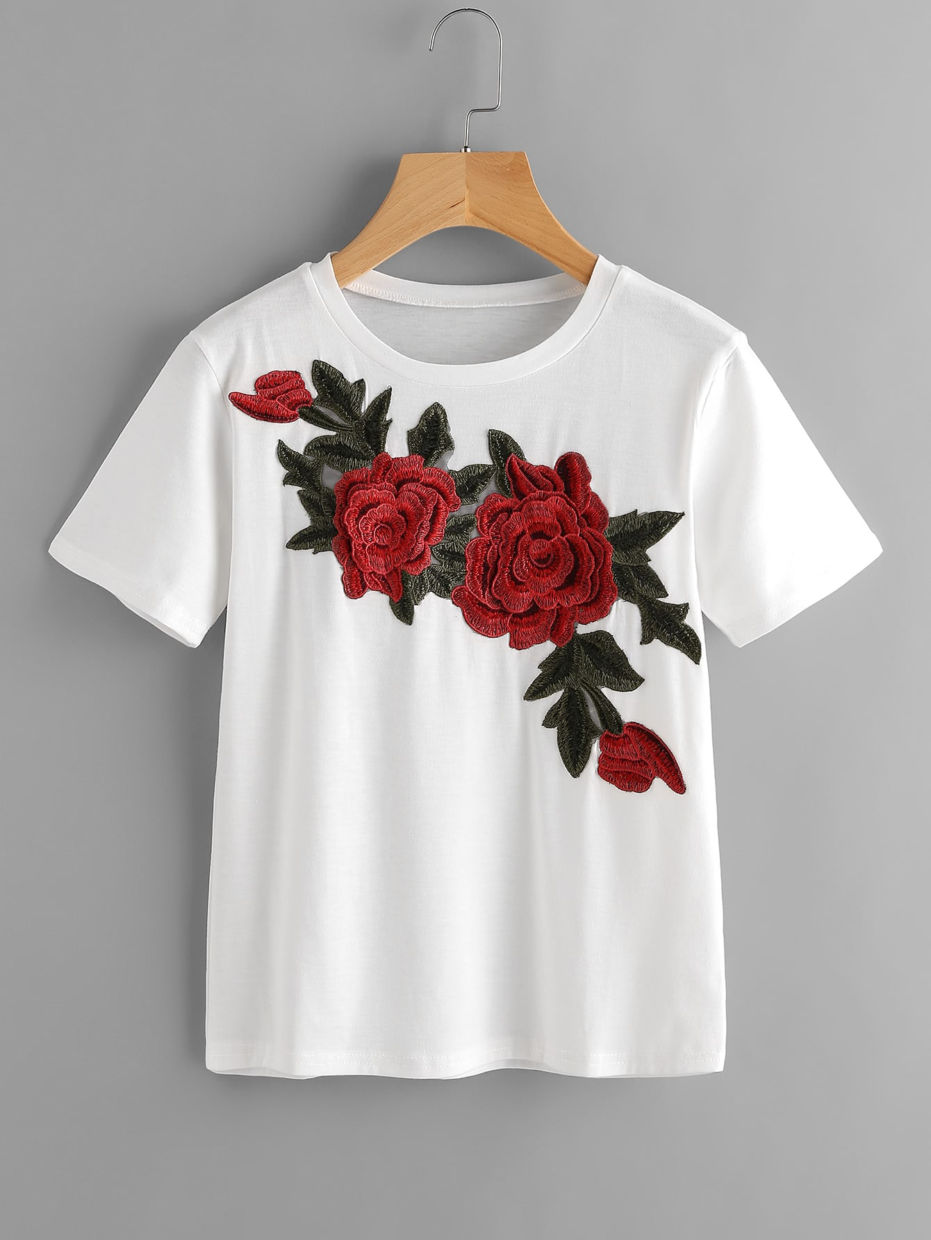 tee shirt brod des roses avec des appliques french romwe. Black Bedroom Furniture Sets. Home Design Ideas