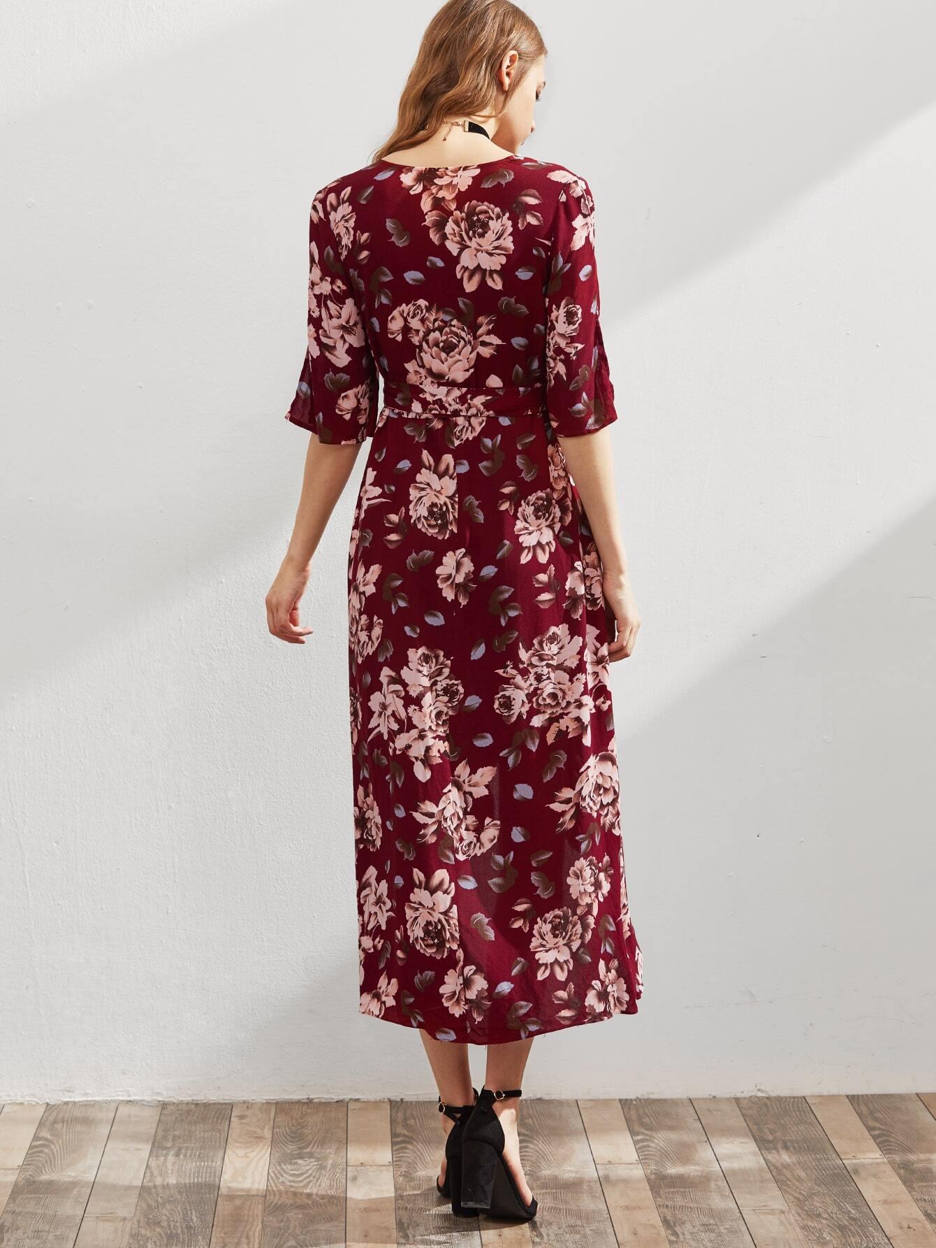 robe manche fendue imprimee des fleurs avec un lacet With affiche chambre bébé avec robe fleur rouge